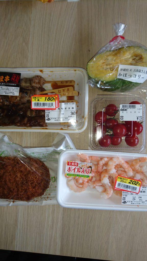 カボッコリー、メンチカツ、焼き鳥、エビ、プチトマト