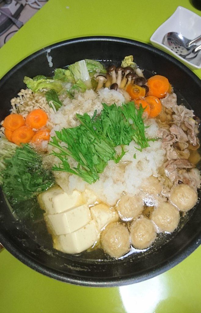 鶏つみれと水菜のみぞれ鍋