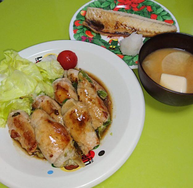 豚ロースレタス巻き、サバ塩焼き、大根と豆腐の味噌汁