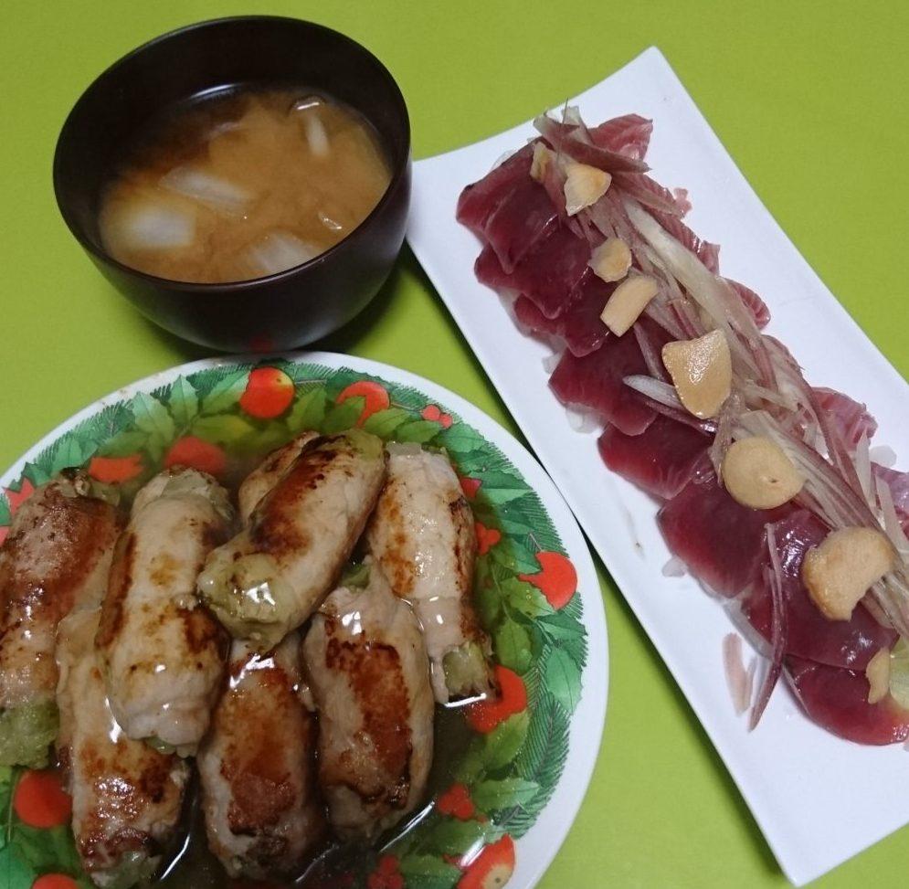 豚肉レタス巻き、かつお土佐造り、しめじと白菜の味噌汁