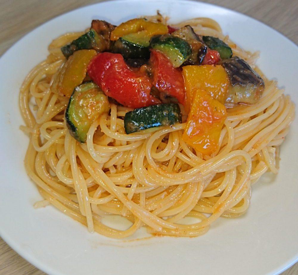 グリル野菜の明太子パスタ