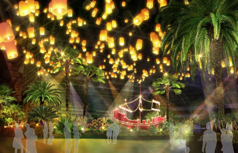 サマーランド 絶景ナイトプール コムローイ祭り(軟水ジャグジー前)